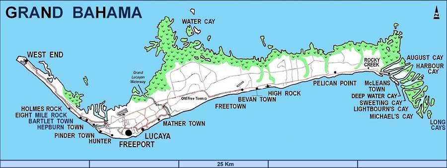 Mappa Spiagge Grand Bahama